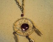Long Silver Dream Catcher Wire Wrapped Dangle Necklace