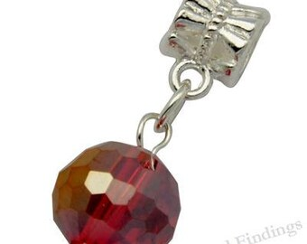 Red Large Hole Glass Beads, CHARMS for European Style Bracelet, Silver tone metal - EC011
