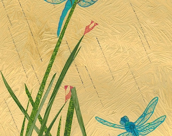 Dragonflies At The Pond, collage painting print, by ConstanceAndersonArt