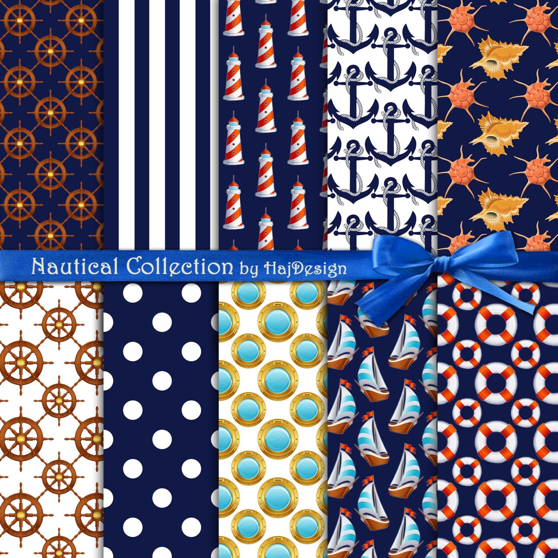 Scrapbook paper collage - Nautical Digital Paper Nautical Collection Navy Blue Digital Paper With Nautical Elements Anchor Boats Stripes Polkadot