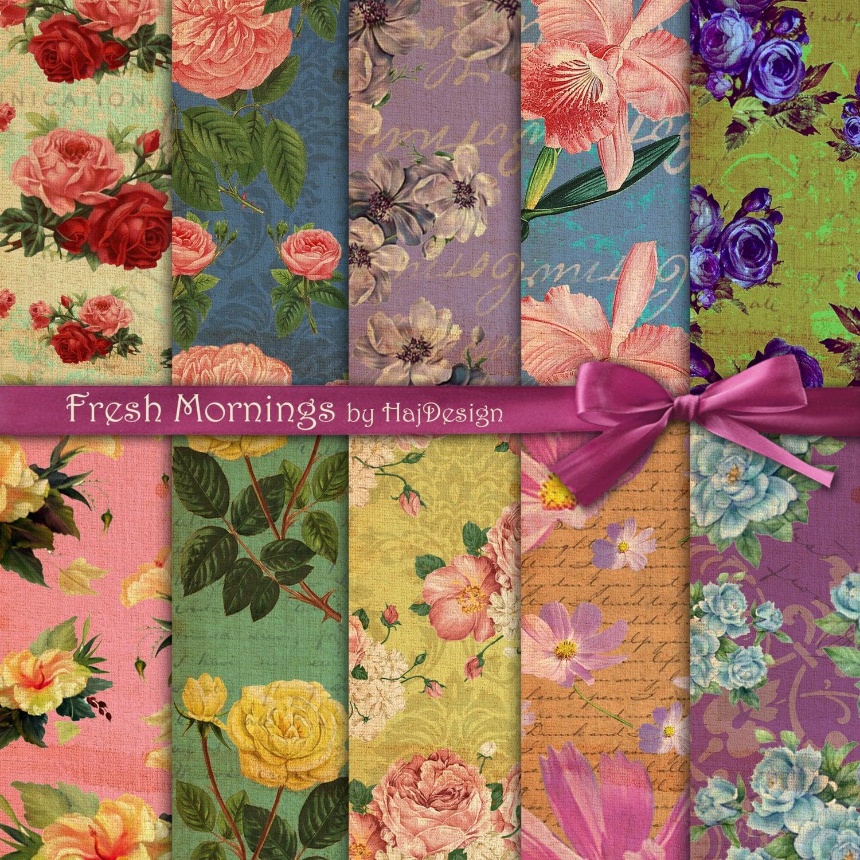 Scrapbook paper collage - Floral Digital Paper Fresh Mornings Vintage Floral Paper For Scrapbooking Decoupage Card Making Wedding Vintage Decoupage Paper