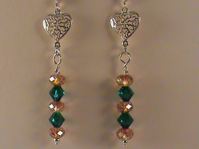 Emerald green copper swarovski crystal dangle by