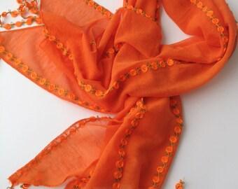 CLEARANCE SALE - Orange Lace Scarf  - Flower Scarf - Cowl Scarf - Shawl Scarf - 168