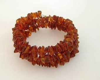 Baltic Amber Adult Memory Wire Bracelet - Cognac Color