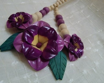 A Beautiful Wooden flower Necklace