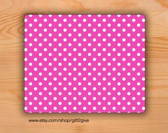 Mousepad Pink White Polka Dots