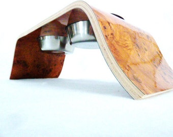 Medium Burled Amber Wood Raised Dog Feeder  - Bell Design