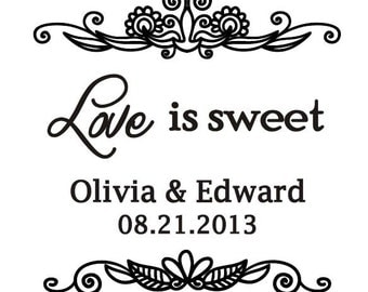 """Wedding Rubber Stamp - Love is Sweet Stamp - Custom Rubber Stamp for DIY - Wedding Favor Tags Stamp - Personalized 2"""" x 2"""""""