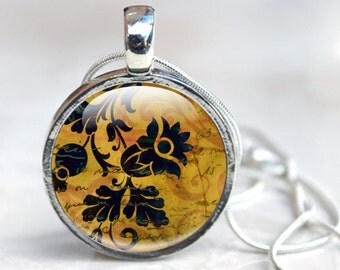 Picture Necklace Glass Necklace Pendant Flowers Yellow and Black Wearable Art with Flower Pattern Glass Art Necklace