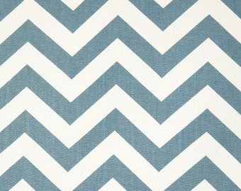 Blue Chevron Fabric Premier Prints zigzag denim natural Home Decor by the Yard - 1 yard or more - SHIPS FAST