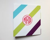 Monogrammed Binder: Turquoise, Lime, and Purple Stripes with Pink Monogram