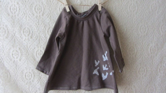 Brown knit baby bird dress. 6 months.