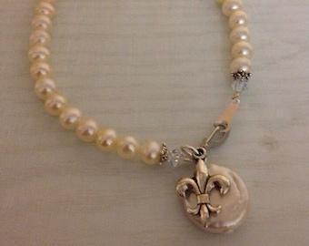 Freshwater Coin Pearl and Fleur de Lis Bracelet