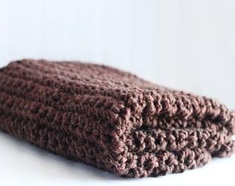 Brown Red Lap Blanket, Crochet Blanket