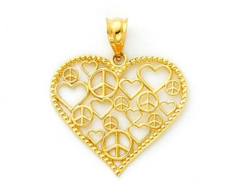 14K Gold Scattered Hearts & Peace Signs Pendant