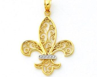 14Kt Two-tone gold Filigree Fleur-d-lis Pendant.