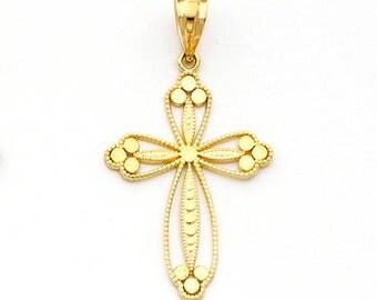 14k gold Cross with Tripple scallops charm
