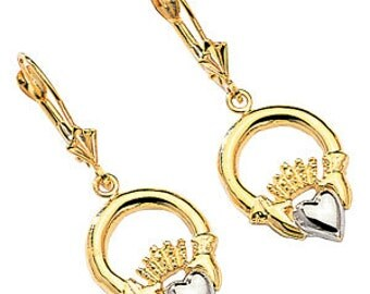 2-tone 14kt white & yellow gold polished finish claddagh earrings
