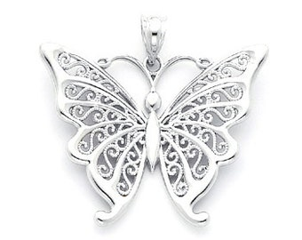 Sterling Silver Butterfly Pendant with Filigree Wings.