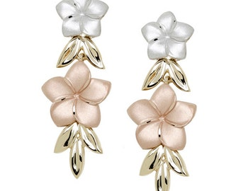 14kt tri color double plumeria earrings