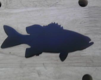4 inch Bass Fish Metal Art Black Ornament Magnet Stencil