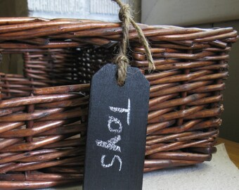 Large Wood Chalkboard Tags -- Set of 5 -- Basket Tag, Gift Tag, Weddings or Party Favor, Table Number