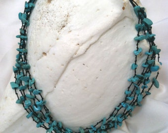 Trendy Multi-Strand Turquoise Chip Necklace