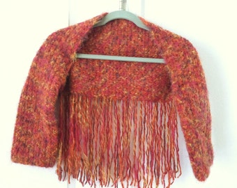 Funky Brick Orange and Red Hippie Chick Shrug