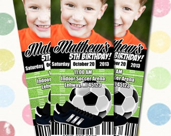 Soccer Birthday Party Invitation Ticket Style You Print Digital File