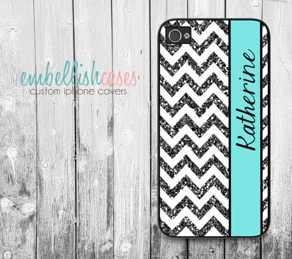 glitter iPhone 4 Case, chevron iphone case, monogram iphone 4 case, 134 (NOT REAL GLITTER)