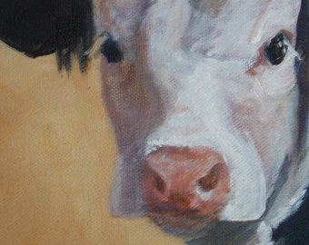"Chrystal- 5""x7"" Holstein Cow Digital Reproduction Print of Original Artwork by Jonnie J. Baldwinjddddff hh"