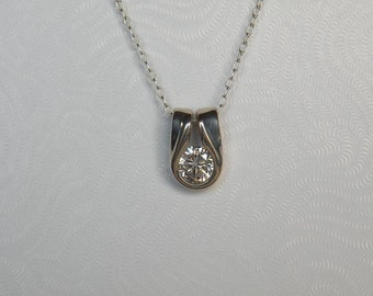 Sterling Silver Pendant with 6.5mm CZ P01