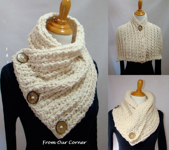 Free Crochet Pattern For Dallas Dream Scarf : 3 Button Crochet Scarf 3 Coconut Button by ...