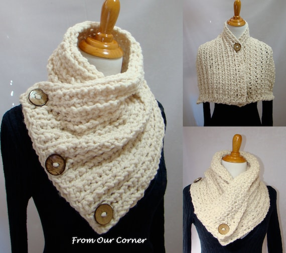 Crochet Scarf Pattern With Button : 3 Button Crochet Scarf 3 Coconut Button by ...