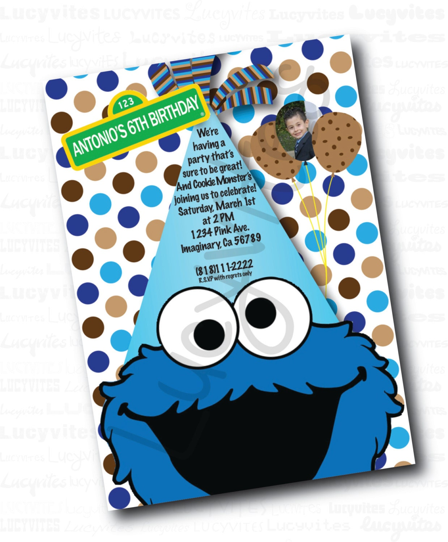 Cookie Monster Birthday Digital Invitation
