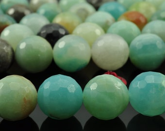 38 pcs of Amazonite  faceted round beads in 10mm