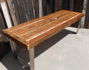 Custom Outdoor/ Indoor Rustic Industrial/ Modern Reclaimed Wood Dining Table/ Coffee Table (Made To Order)