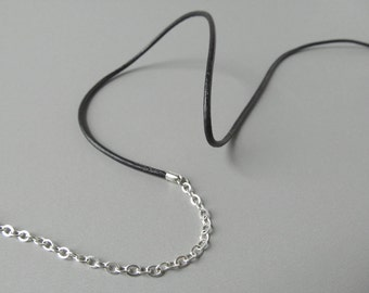 Black Leather Eyeglass Chain - Silver Chain - Glasses Cord - Black Eyeglass Chain - Silver Eyeglass Holder - For Men - For Women