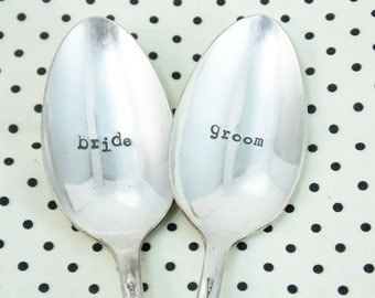 Bride Groom Spoon Set - Hand Stamped Vintage Silverware, wedding spoons, wedding gift