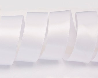 "White Ribbon, Double Faced Satin Ribbon, Widths Available: 1 1/2"", 1"", 6/8"", 5/8"", 3/8"", 1/4"", 1/8"""