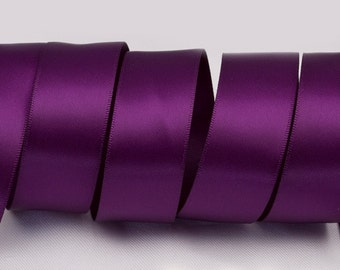 "Plum Purple Ribbon, Double Faced Satin Ribbon, Widths Available: 1 1/2"", 1"", 6/8"", 5/8"", 3/8"", 1/4"", 1/8"""