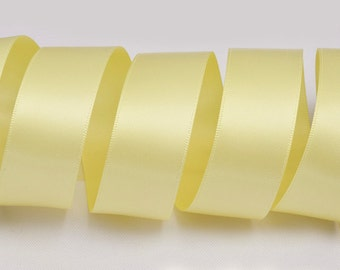 "Chamois Yellow Ribbon, Double Faced Satin Ribbon, Widths Available: 1 1/2"", 1"", 6/8"", 5/8"", 3/8"", 1/4"", 1/8"""
