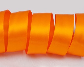 "Tangerine Orange Ribbon, Double Faced Satin Ribbon, Widths Available: 1 1/2"", 1"", 6/8"", 5/8"", 3/8"", 1/4"", 1/8"""