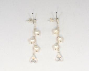 Handmade Crystal Drop and Freshwater Pearl Earrings