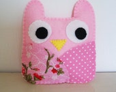 Stuffed Owl - Baby toy -Softie - pink