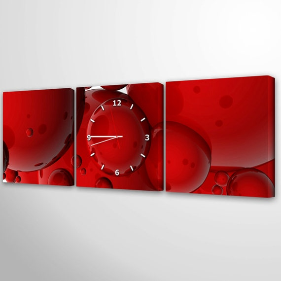 Canvas Wall Clock Design : Modern wall clock unique tryptich red large