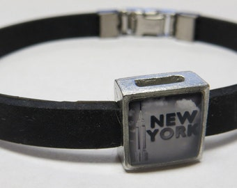 New York City Empire State Building Link With Choice Of Colored Band Charm Bracelet