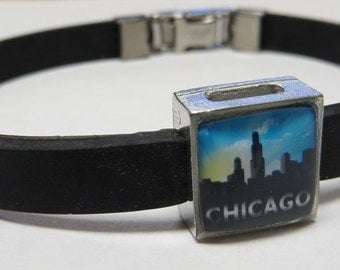 Chicago Illinois Skyline Link With Choice Of Colored Band Charm Bracelet