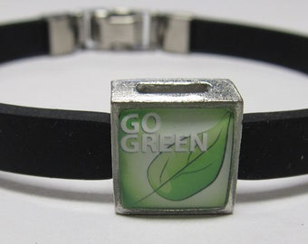 Go Green Support Link With Choice Of Colored Band Charm Bracelet
