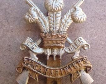 British Army Regimental Cap Badge The 3rd Carabiniers Regiment Bi Metal